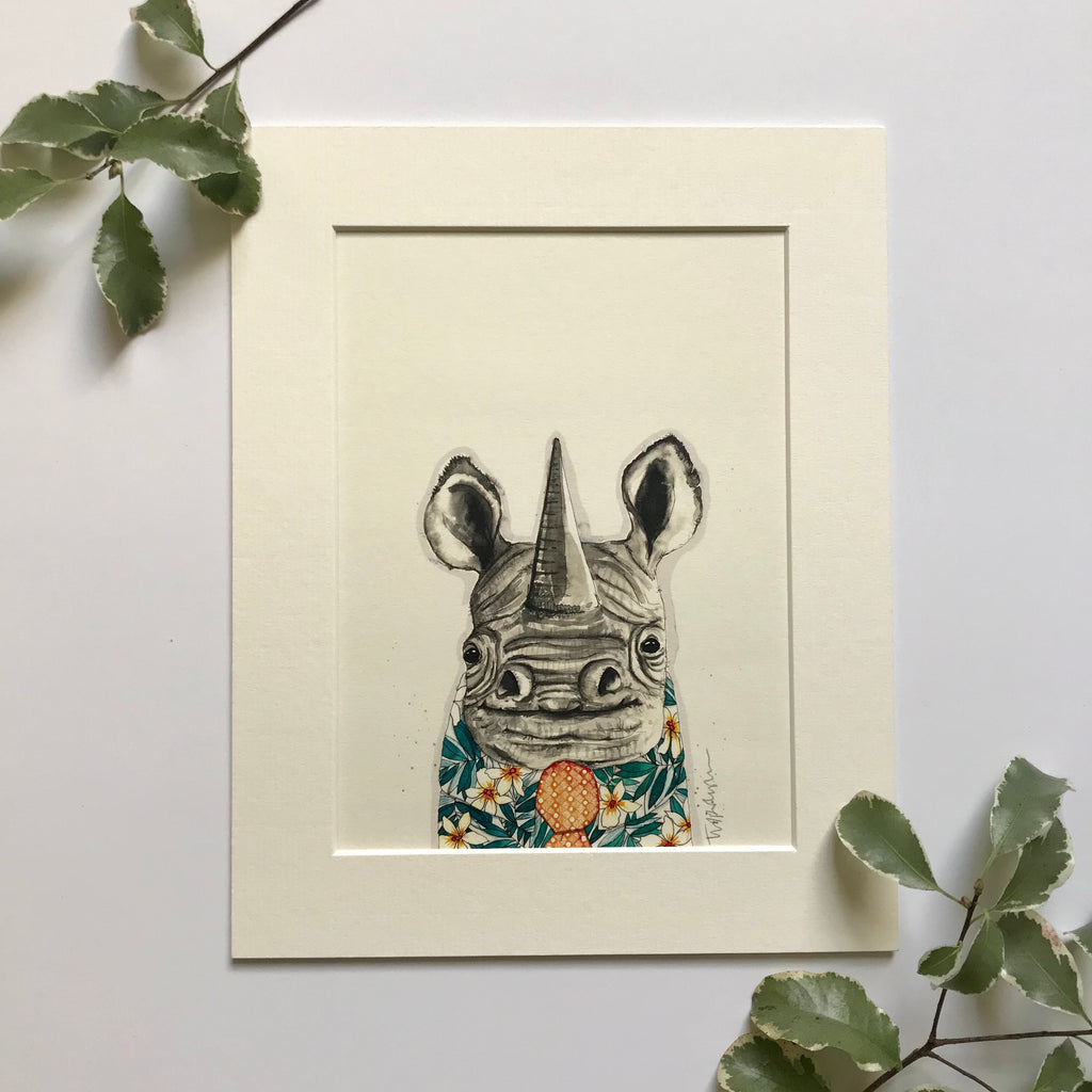 "Animal Art, David the Rhino, 8"" x 10"""