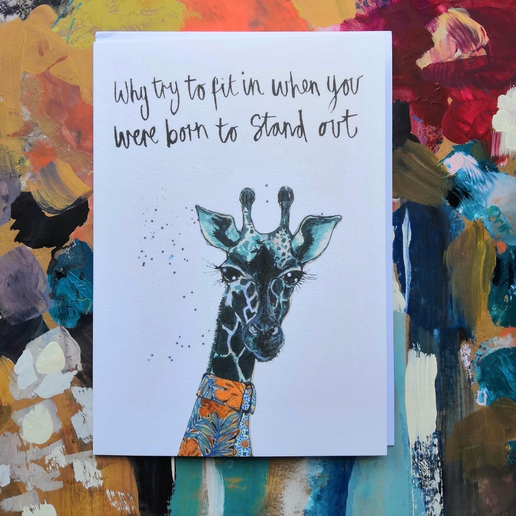 Card, AS01WILDER, Wilder the giraffe, 'Why fit in when you were born to stand out'