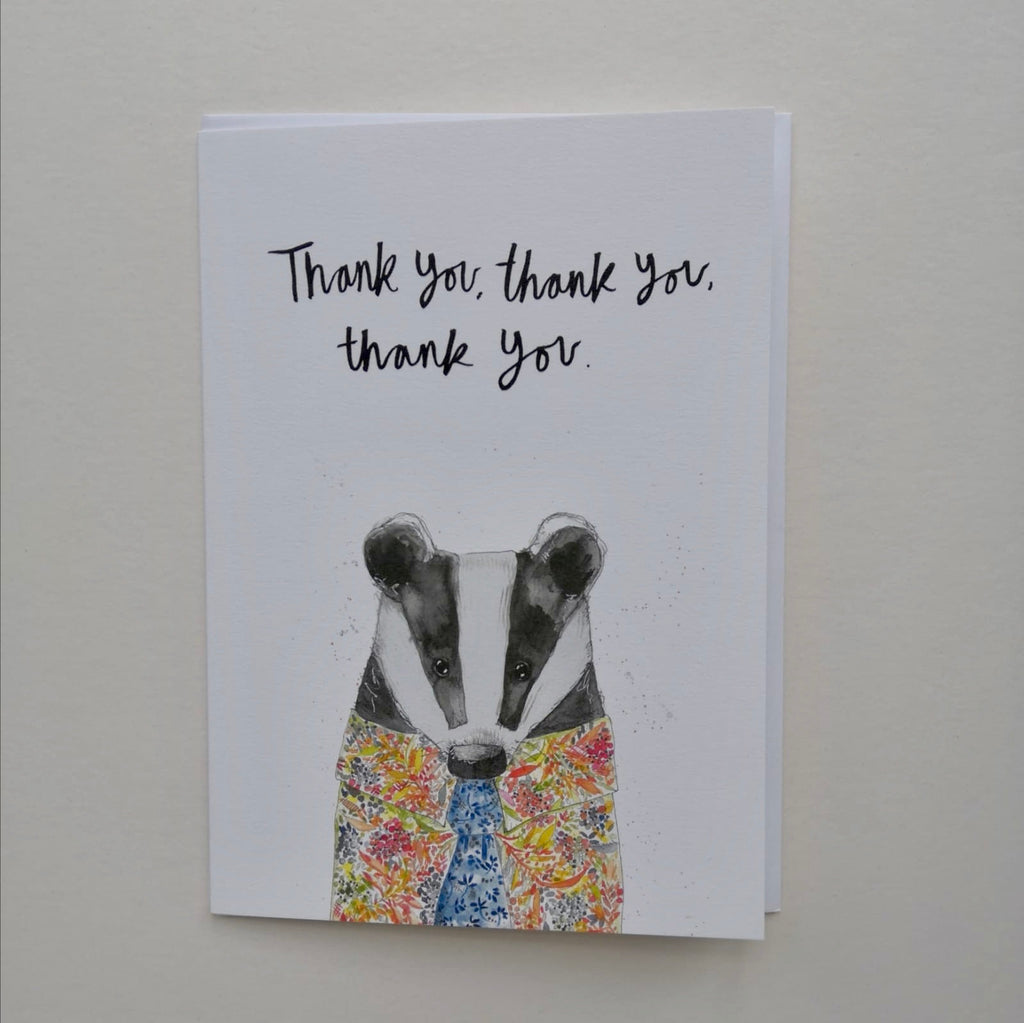 Cards, AS34THANKYOU, Bertie Badger, 'Thank you, thank you, thank you'
