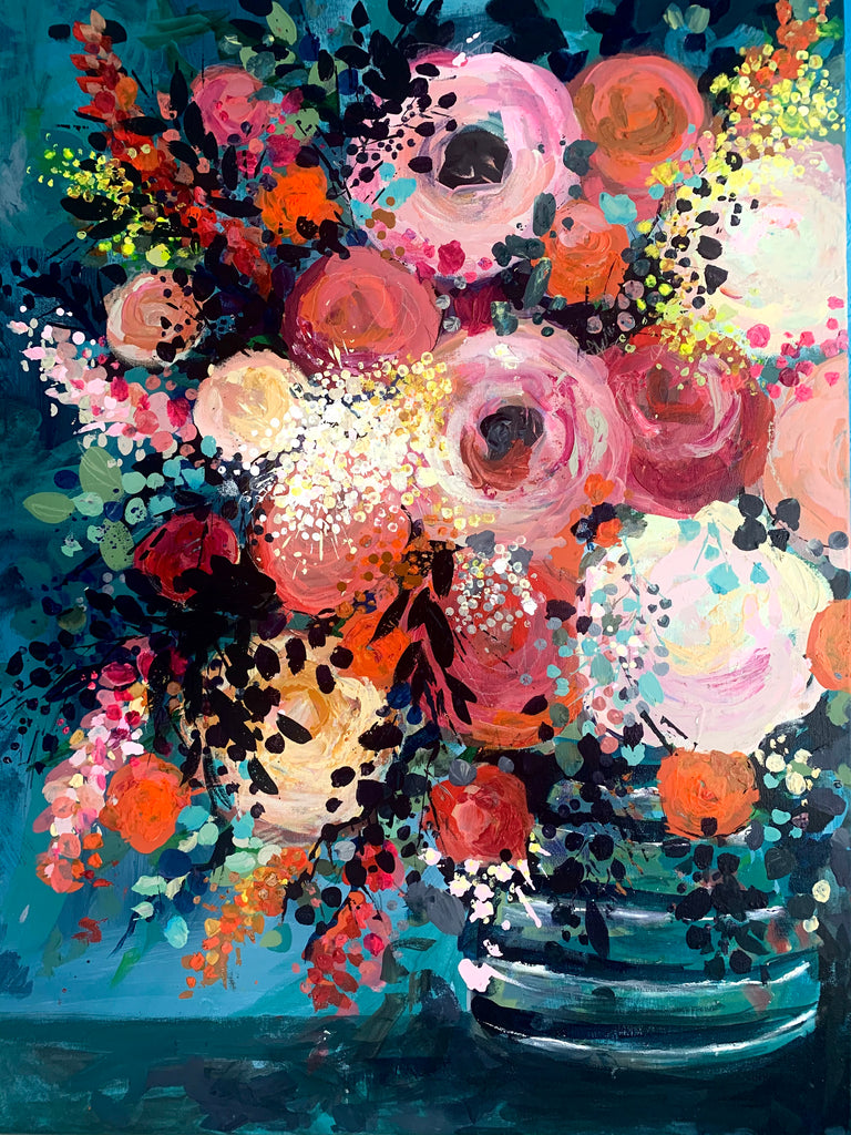 Abstract Floral, 'Anemones, Roses and Mimosa'