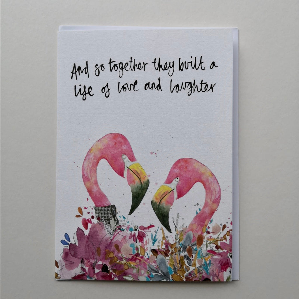 Card, AS20TOGETHER, Flamingos x two, 'And so together they built a life of love and laughter'