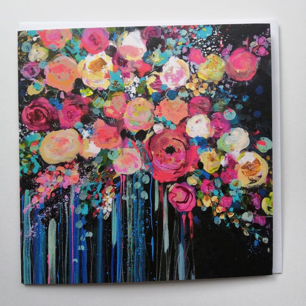 Card, FL07, Neon Pink, Floral greeting card