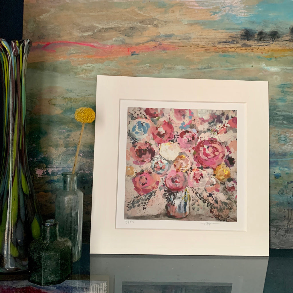Floral art print, 'Peony bliss'
