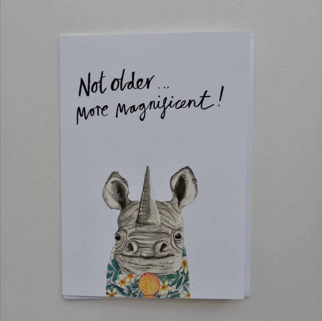 Cards, AS36MORE, Dave the rhino, 'Not older..., more magnificent!'