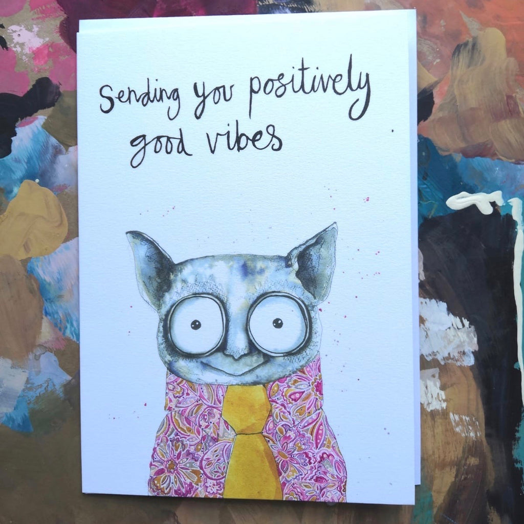 Card, Hank the tarsier, 'Sending you positively good vibes'