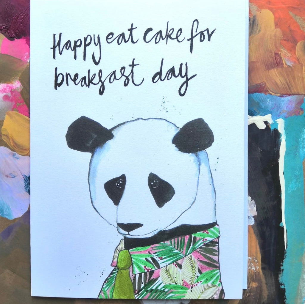 Card, Cole the Panda, 'Happy eat cake for breakfast day'