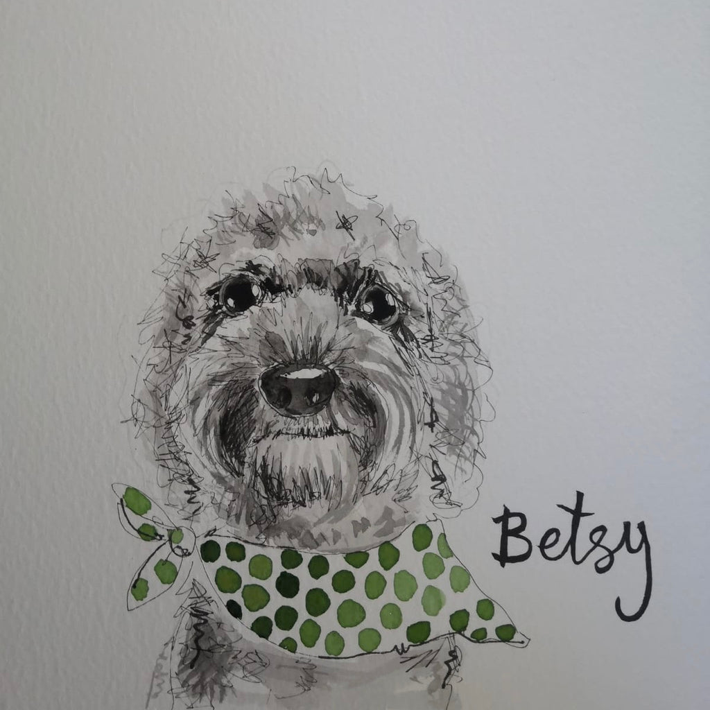 Pet portraits, small black and white, sketchy dog