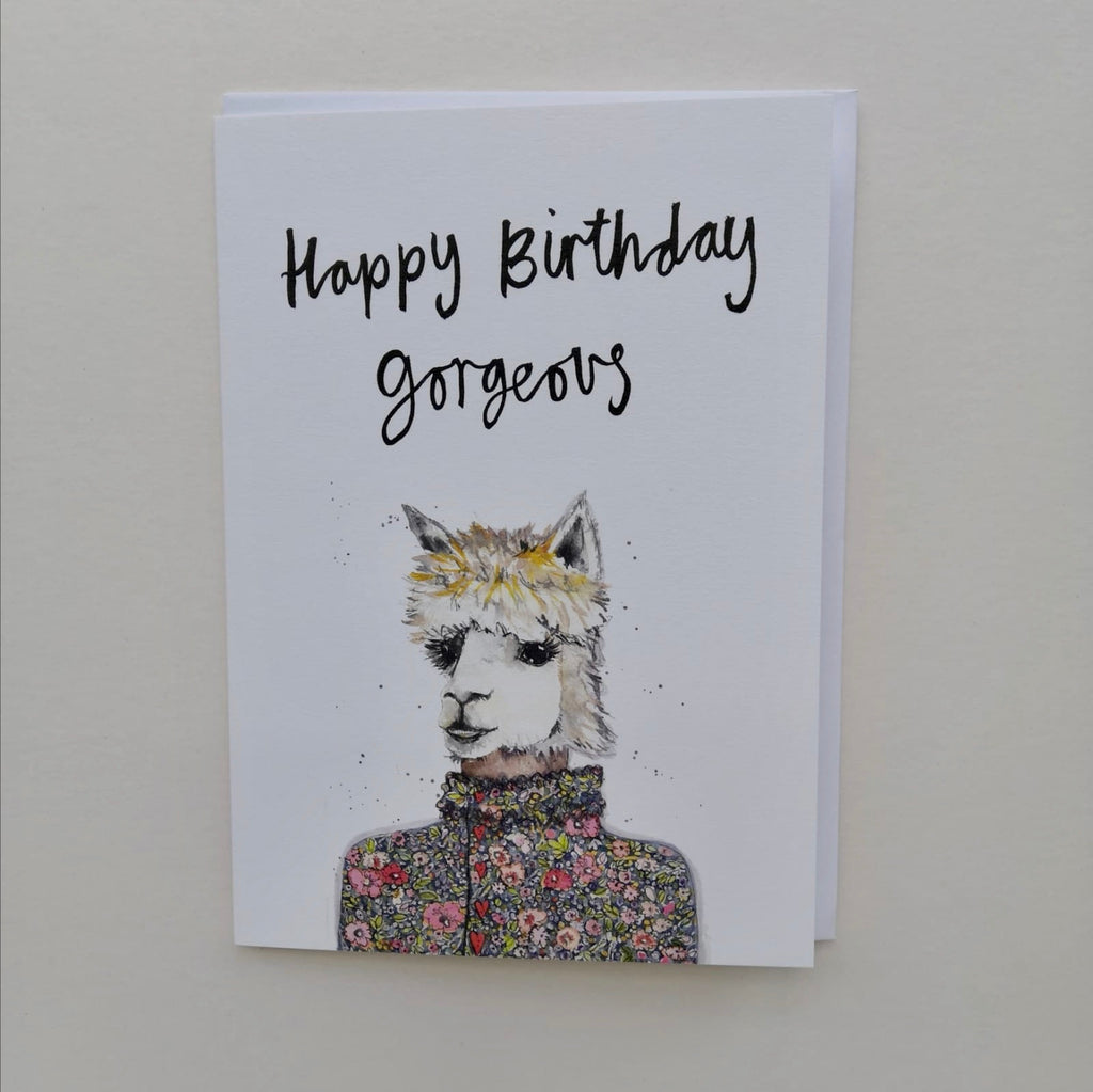 Cards, AS32GORGEOUS, Ben the alpaca, 'Happy Birthday gorgeous'