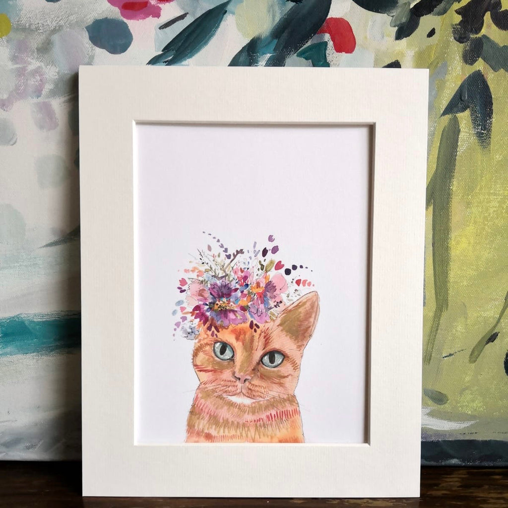 Animal art, Lenny floral cat