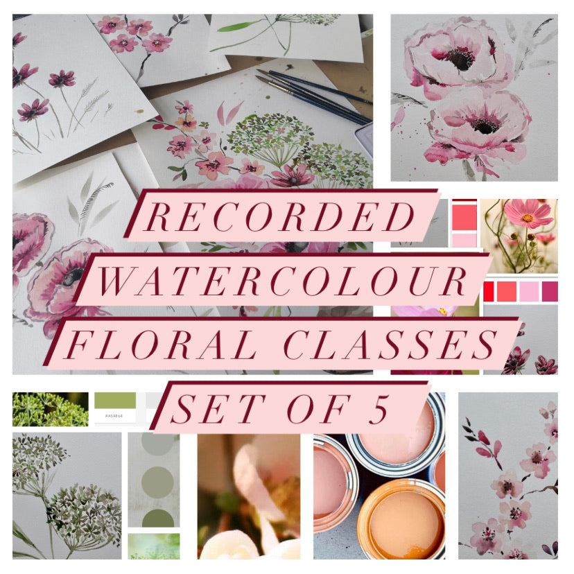Watercolour art classes series 1, 5 prerecorded watercolour floral classes