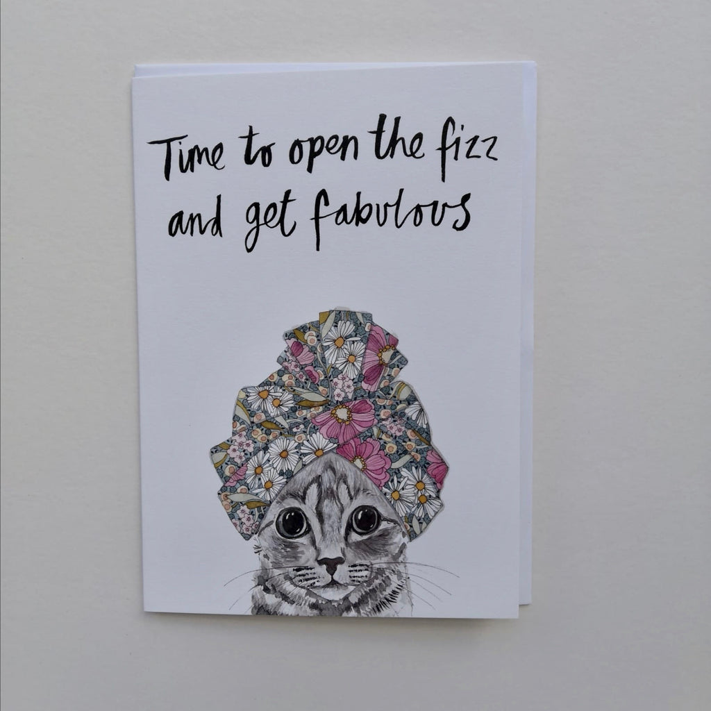 Cards, AS41FIZZ, Kevin the cat, 'Time to open the fizz and get fabulous'