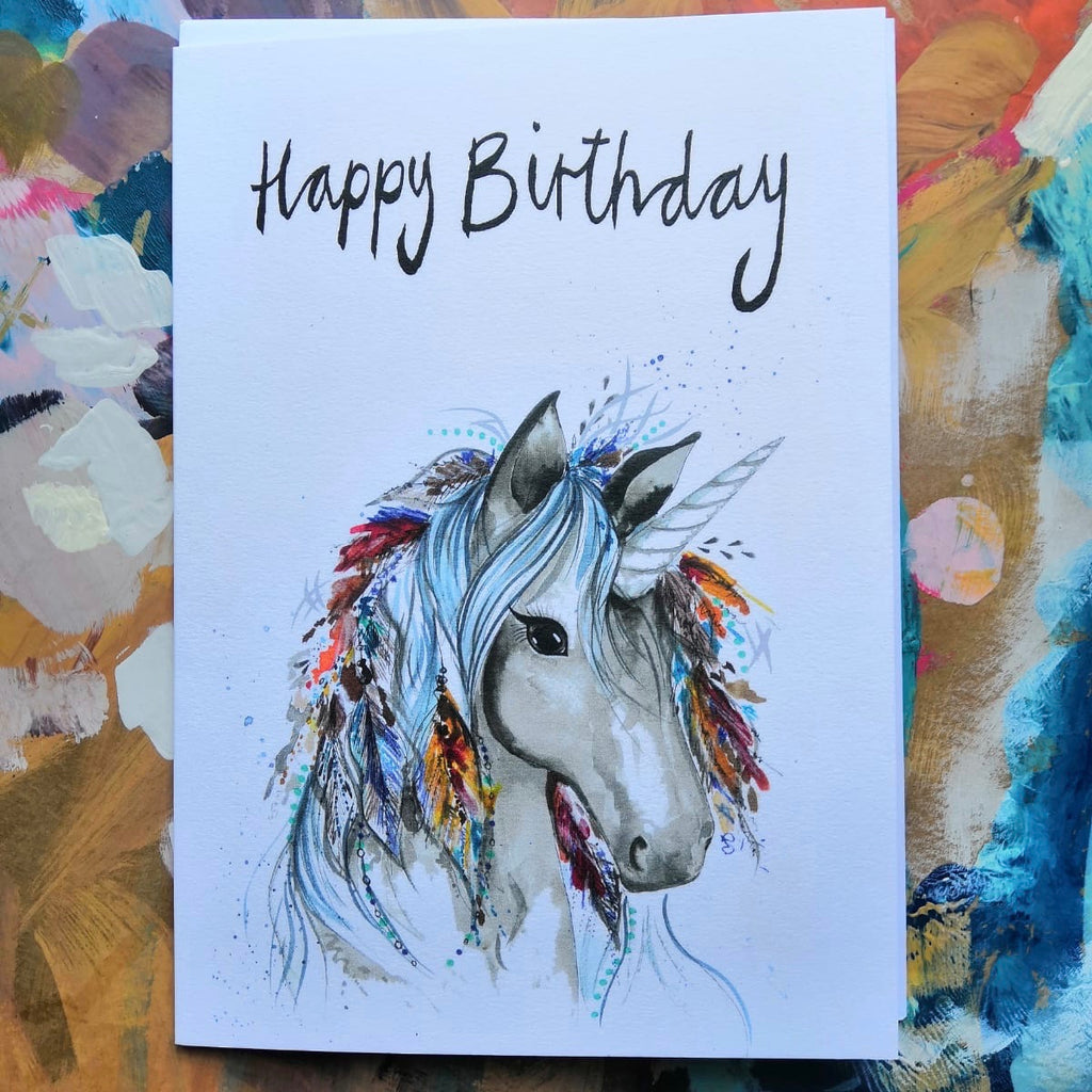 Card, Seren the unicorn, 'Happy Birthday'
