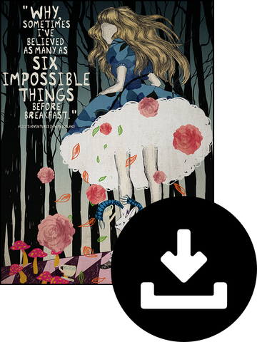 "Digital Download of Alice in Wonderland ""Six Impossible Things"" Poster"