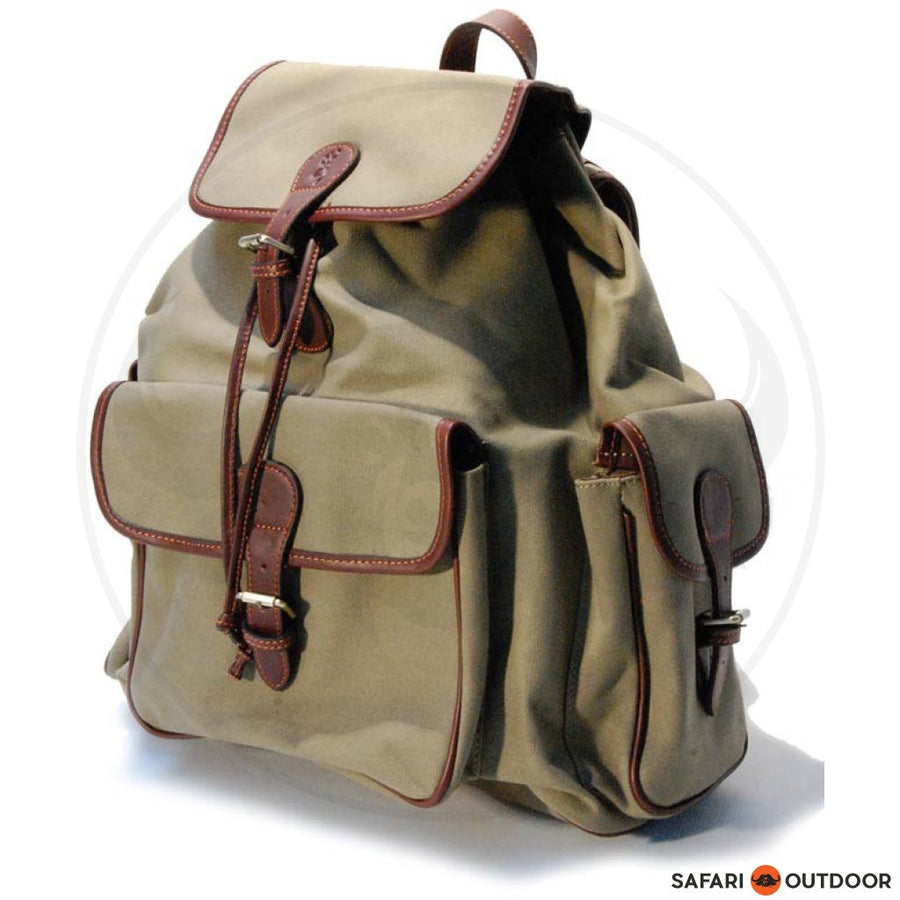 BROWNING HERITAGE BAGPACK CANVAS LEATHER - SAFARI OUTDOOR