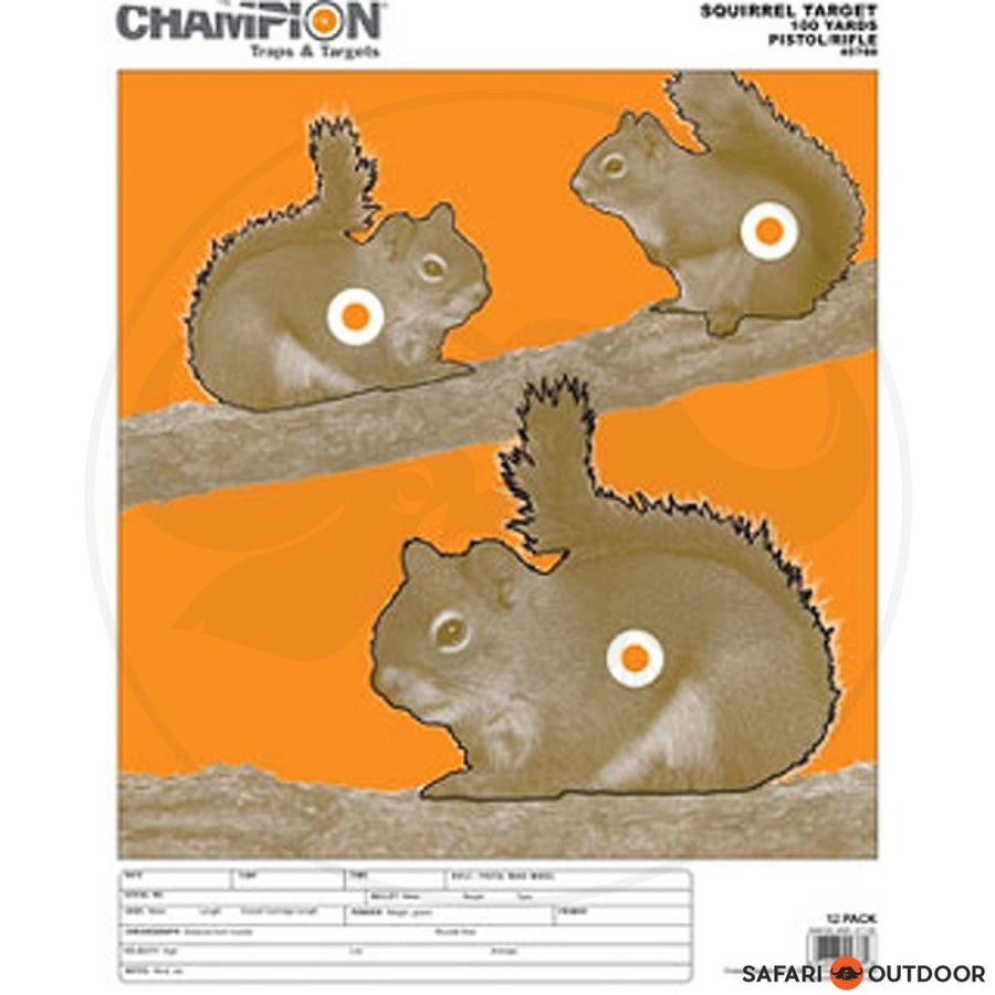 CHAMPION SQUIRREL 100YD PISTOL/RIFLE (12) TARGET