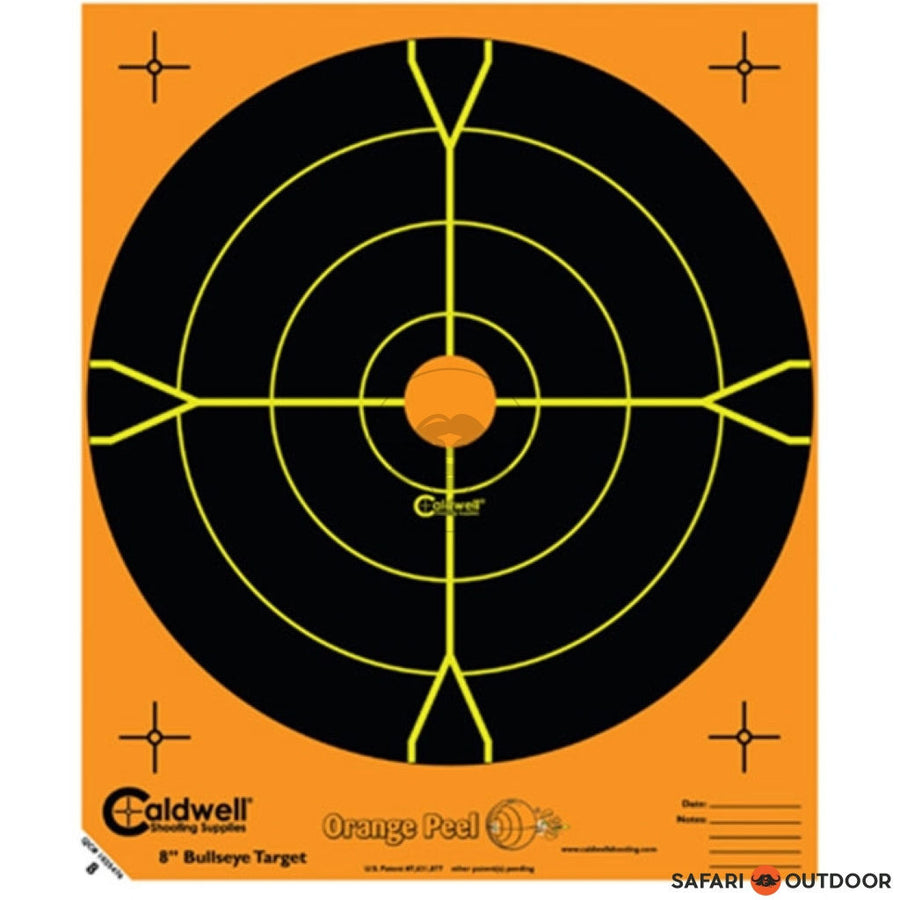 "CALDWELL ORANGE PEEL BULLSEYE 8"" 5 SHEET - SAFARI OUTDOOR"