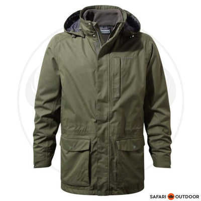 CRAGHOPPERS JACKET MEN KIWI LONG 3 IN 1 PARKA -GREEN