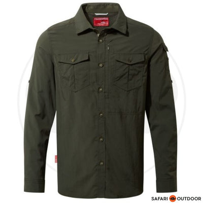 CRAGHOPPERS L/S MEN ADVENTURE TREK DARK KHAKI