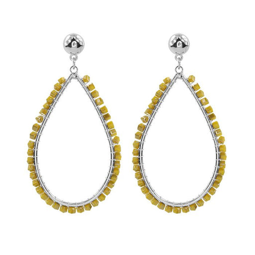 Crystal Teardrop Yellow Silver