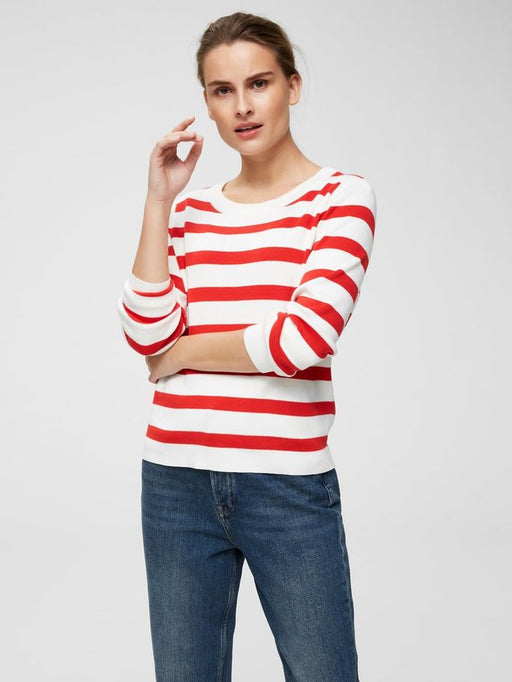 Alina Striped Knit Poppy Red/Snow White