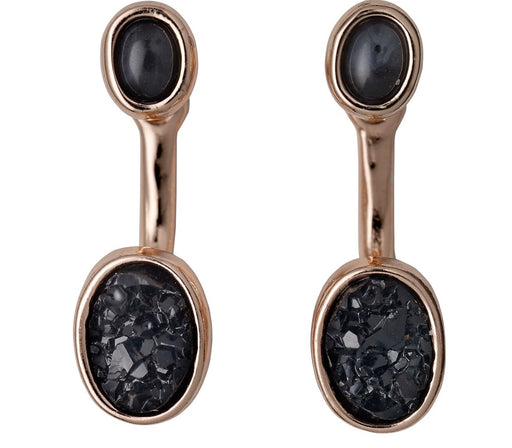 Aileas Rose Gold Plated Earrings Black Stone