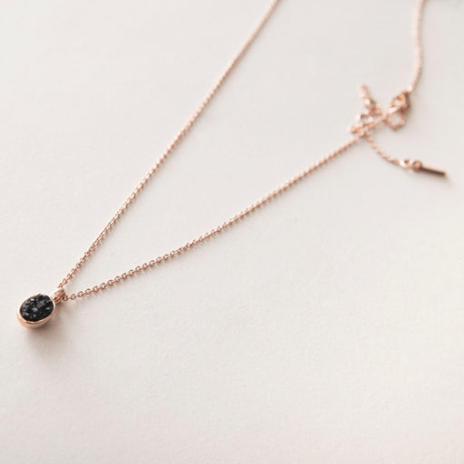 Aileas Rose Gold Plated Necklace Black Stone