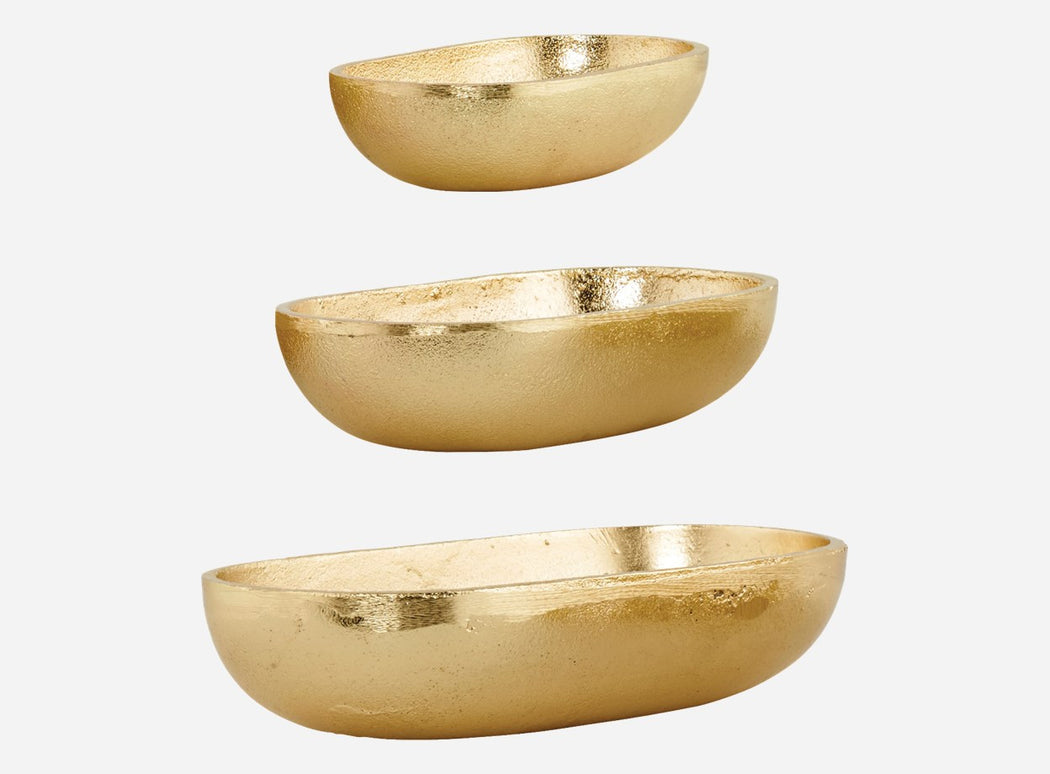 Oval bowls 3 pieces Gold