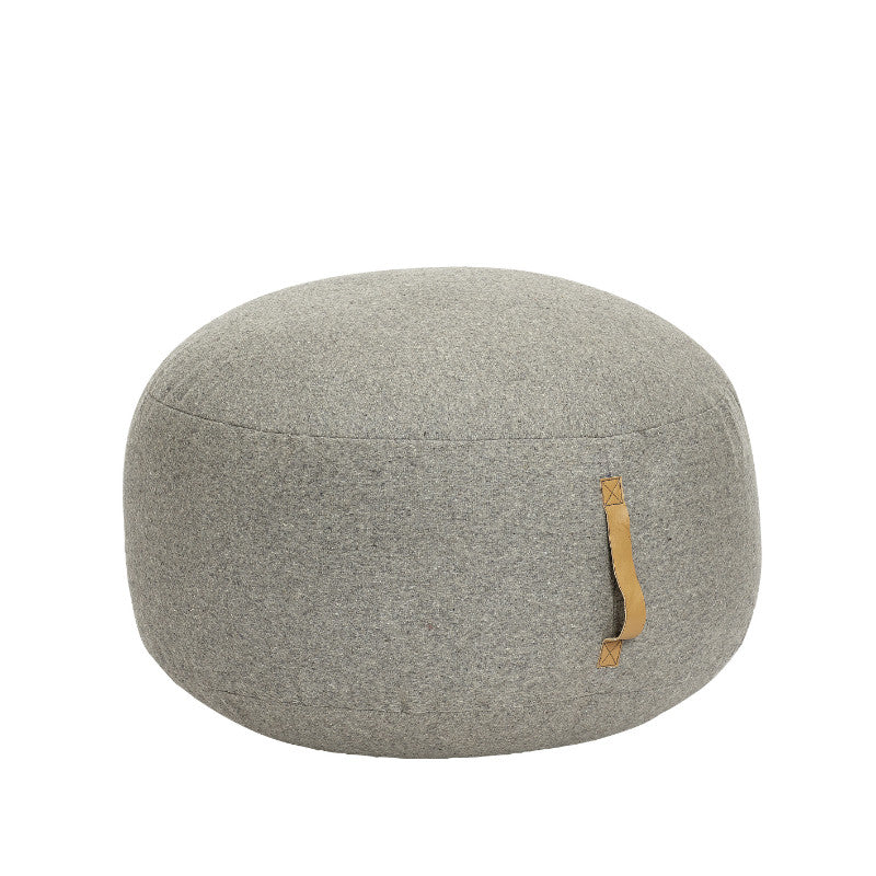Round Pouf Grey with Leather strap