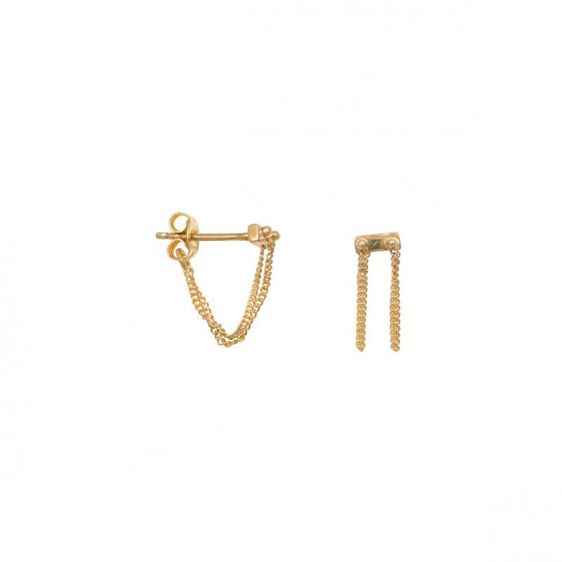 Rivet Two Chain Earring Gold