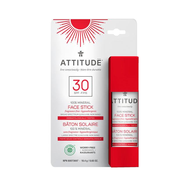 Attitude 100% Mineral Face Stick SPF 30 (Fragrance-free) 18.4 gr