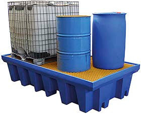 Safety Storage Australia bunded pallets for IBC containers, also called a spill pallet or a sump pallet. approved for EPA minimum capacity for bulk containers