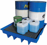Bunded spill pallet poly, 4 x 200L capacity