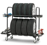 Tyre storage rack storage and display of qty 8 x car tyres mobile unit