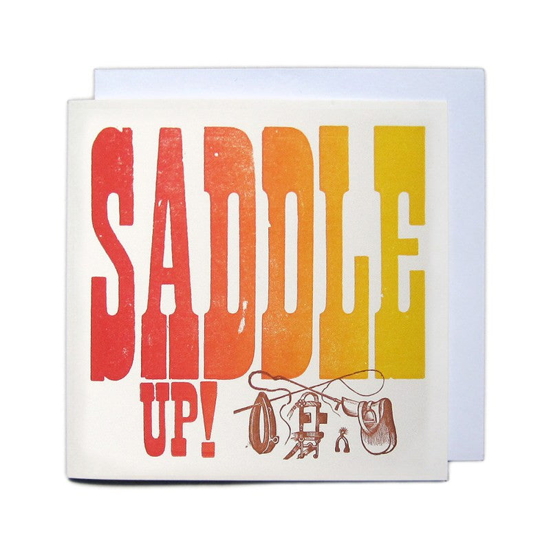 Sort: Letterpress Woodblock Greetings Card - Saddle Up