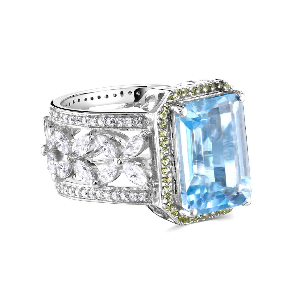 Octagon Blue Topaz Silver Ring