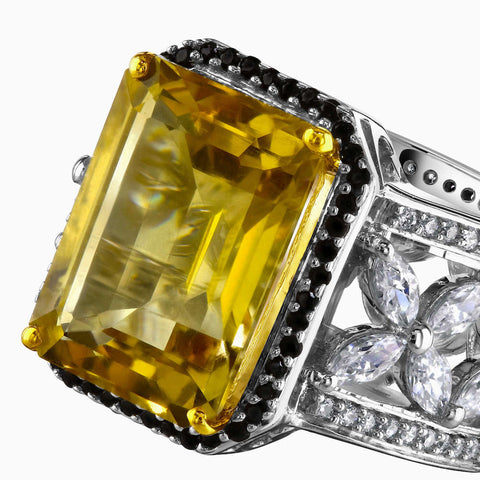 Octagon Yellow Beer Quartz Silver Ring