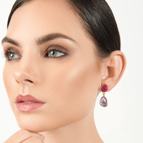 Jamun Twist Stone Earrings - India