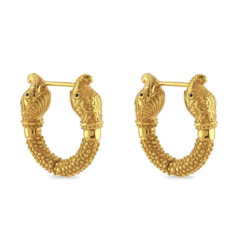 Hathi Blue Sapphire Gold Elephant Mini-Hoop Earrings with Antique Finishing
