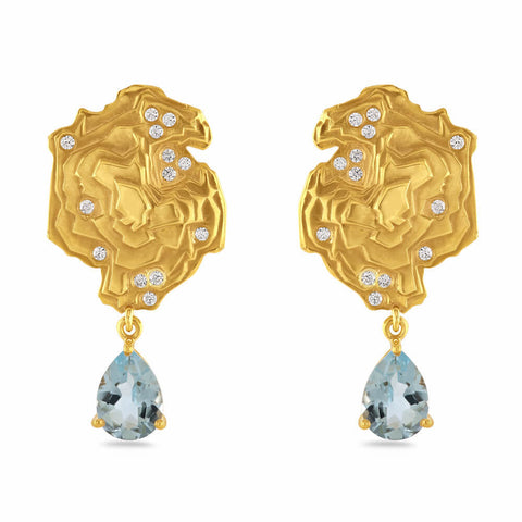 Dainty Gold-Plated Slate Earrings with Blue Stone Teardrop