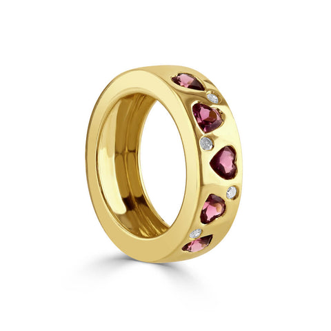 Heart Pink Tourmaline and Diamond Ring