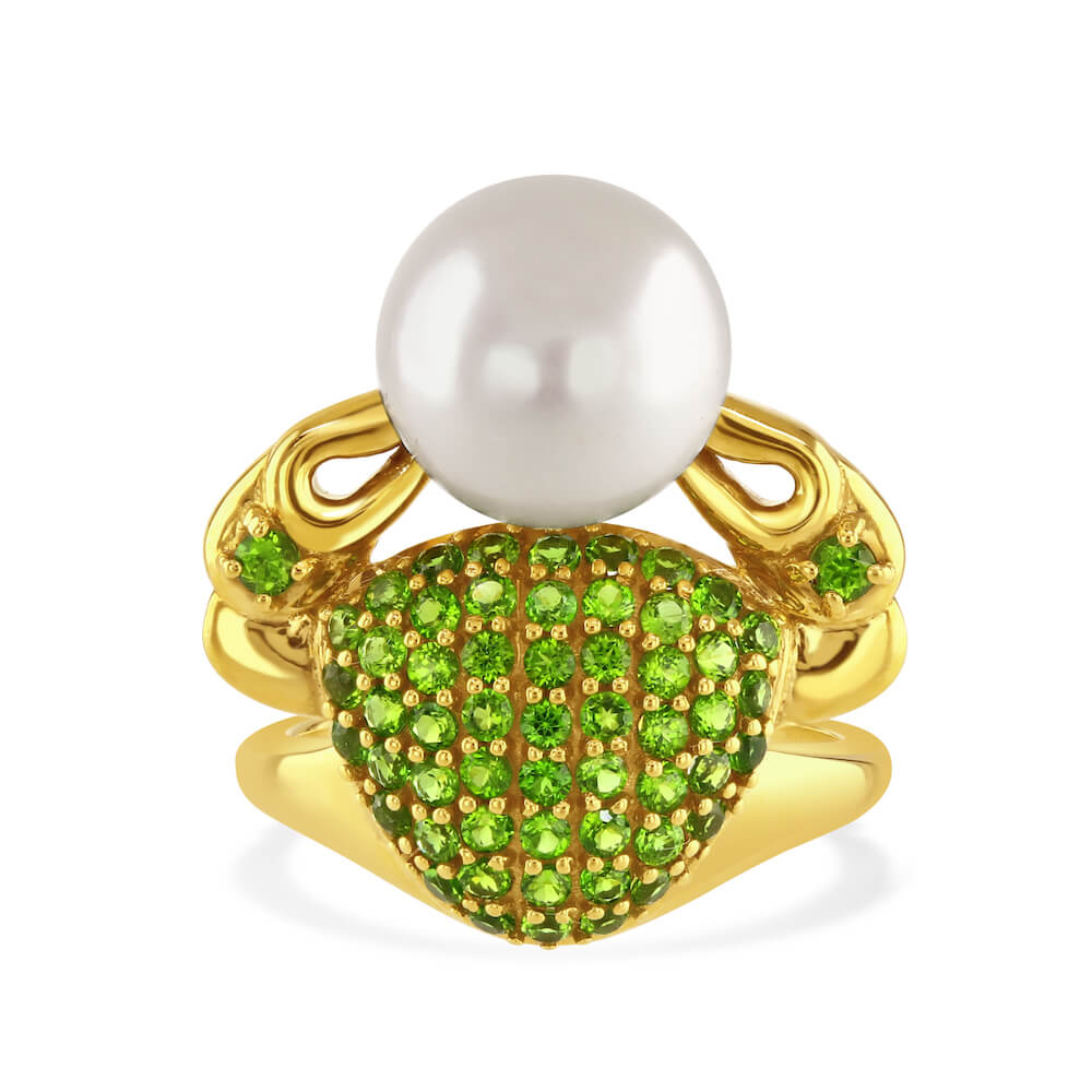 Pearl and Green Chrome Diopside Gemstone Crab Statement Ring