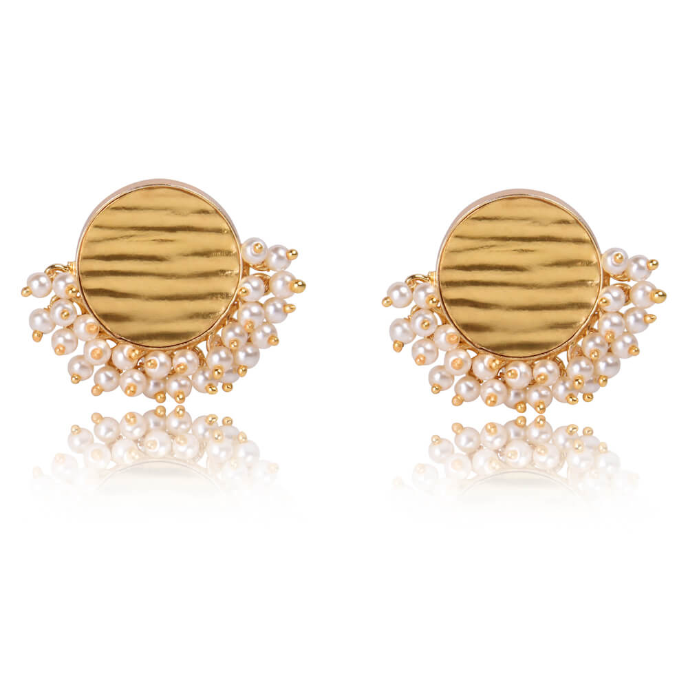 Chaand Round Hammered Gold and Pearl Earrings - India