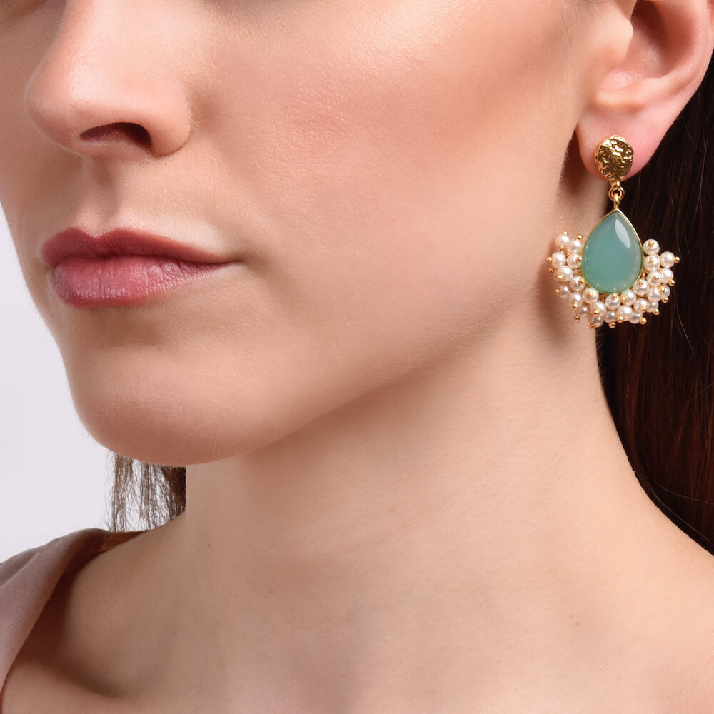 Lagoon Gold and Aqua Stone Drop Earrings with Pearls - India