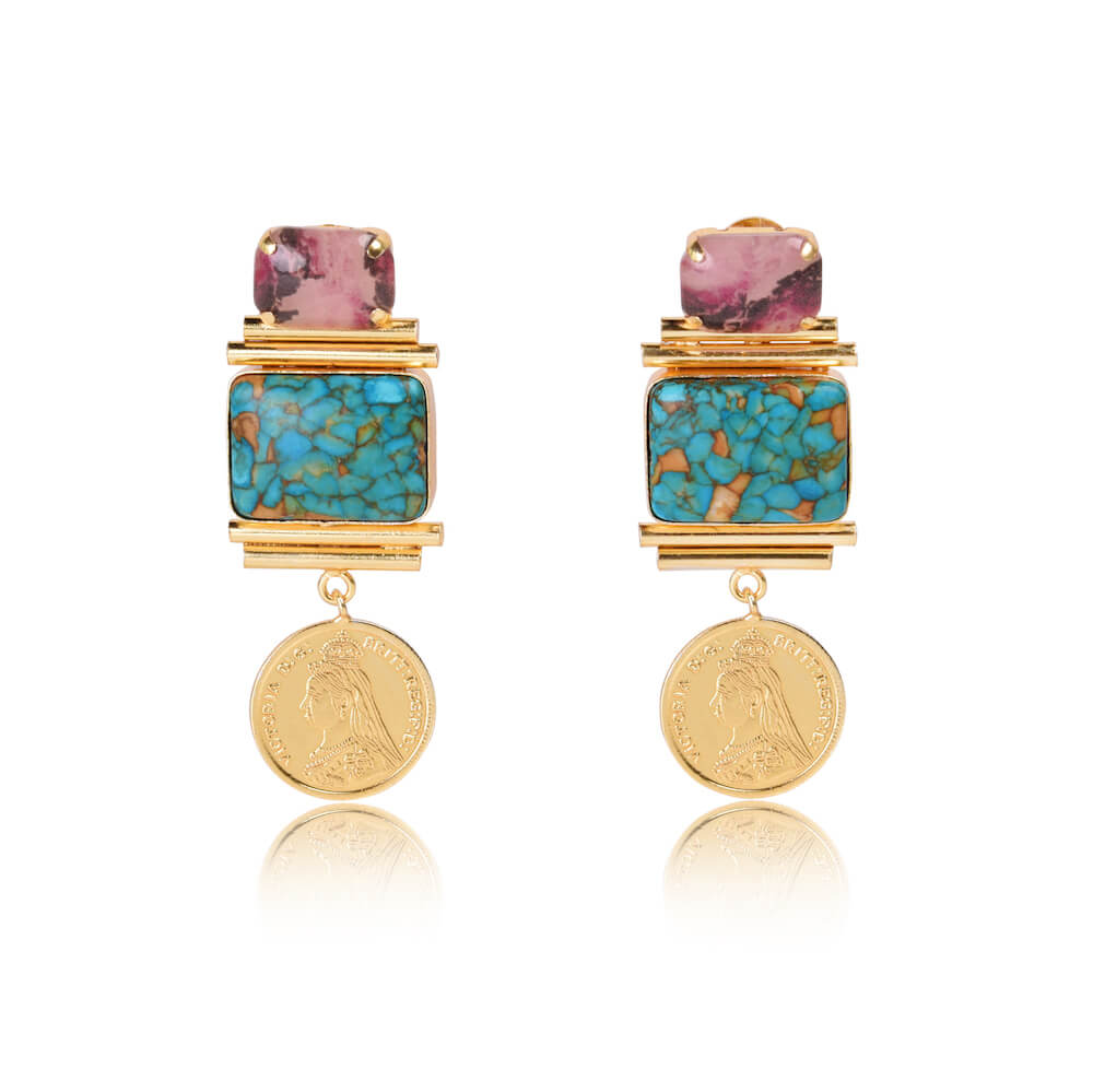 Rupiya Pink and Green Stone with Gold Coin Drop Earrings - India