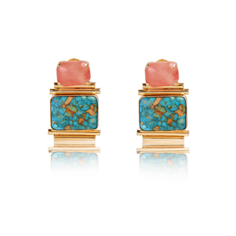 Santara Orange and Green Stone Statement Earrings - India