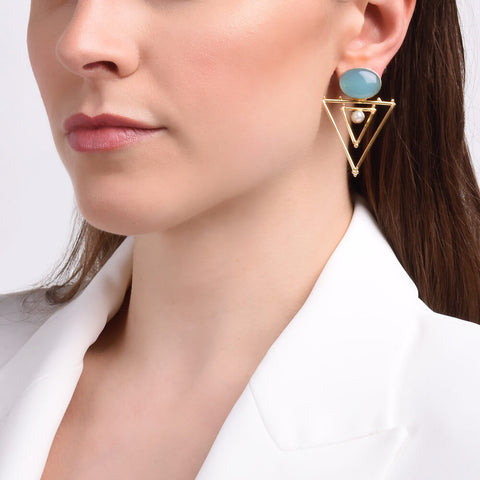 Aqua stone & Gold Triangle Talisman Earrings with Pearl - India