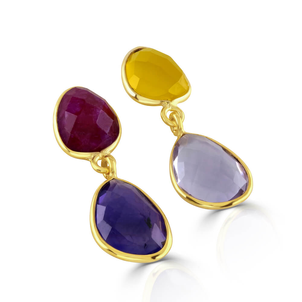 Jamun Mismatch Amethyst and Ruby Gem Stone Earrings - India