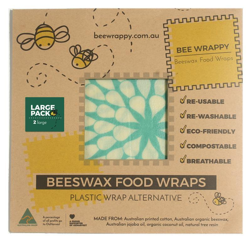 Bee Wrappy Beeswax Wraps 2 x Large Sandwich Pack