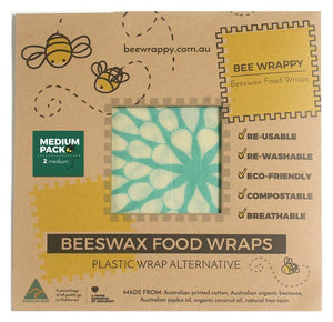 Bee Wrappy Beeswax Wraps 2 x Medium Pack