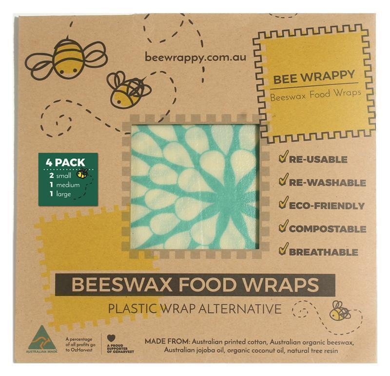 Bee Wrappy Beeswax Wraps Kitchen 4 Pack